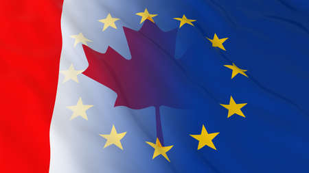 merged: Canadian and European Union Relations Concept - Merged Flags of Canada and the EU 3D Illustration