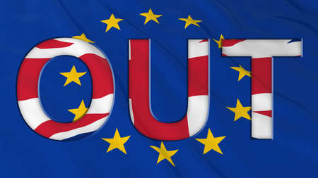 Brexit - Britain OUT of the European Union - 3D Illustration with Flags Imagens - 57897559