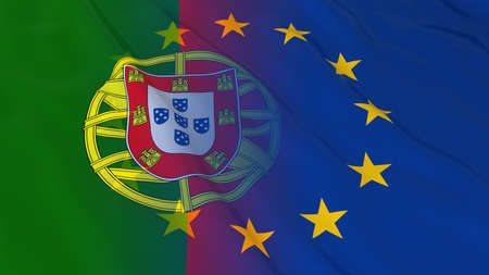 merged: Portuguese and European Union Relations Concept - Merged Flags of Portugal and the EU 3D Illustration