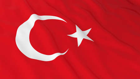 Turkish Flag HD Background - Flag of Turkey 3D Illustration Stock Photo