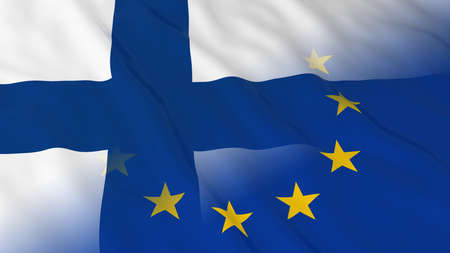 opposed: Finnish and European Union Relations Concept - Merged Flags of Finland and the EU 3D Illustration