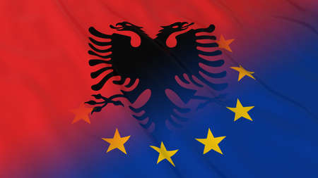 opposed: Albanian and European Union Relations Concept - Merged Flags of Albania and the EU 3D Illustration