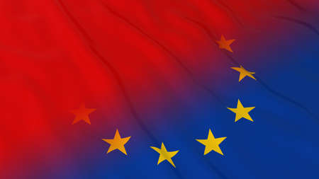 red flag up: EU Flag with Red Flag Fade - 3D Illustration