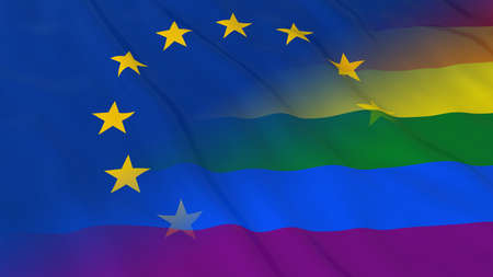 Gay Pride in Europe Concept - Merged Rainbow Flag and European Union Flag 3D Illustration