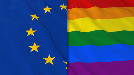 opposed: Gay Pride in Europe Concept - Split Rainbow Flag and European Union Flag 3D Illustration Stock Photo