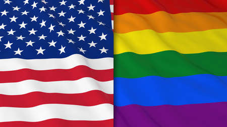 gay pride rainbow: Gay Pride in the USA Concept - Split Rainbow Flag and American Flag 3D Illustration Stock Photo