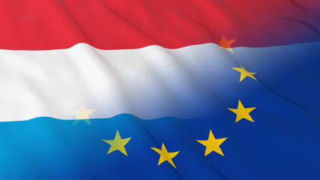 opposed: Luxembourgian and European Union Relations Concept - Merged Flags of Luxembourg and the EU 3D Illustration