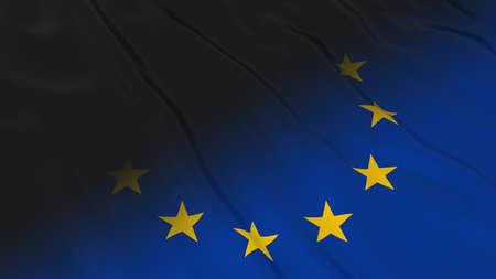black flag: EU Flag with Black Flag Fade - 3D Illustration