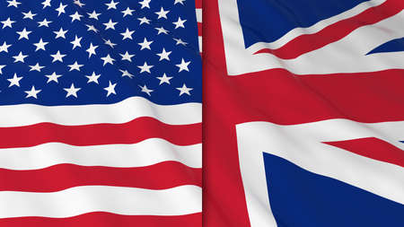 opposed: Flags of America and Britain - Split British Flag and American Flag 3D Illustration Stock Photo