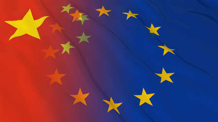 europe closeup: Chinese and European Union Relations Concept - Merged Flags of China and the EU 3D Illustration Stock Photo