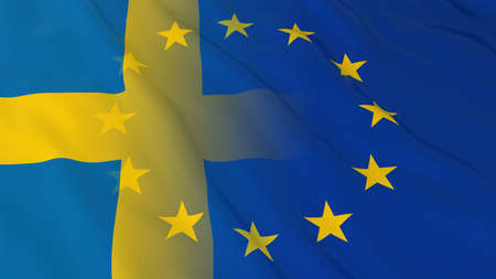 opposed: Swedish and European Union Relations Concept - Merged Flags of Sweden and the EU 3D Illustration