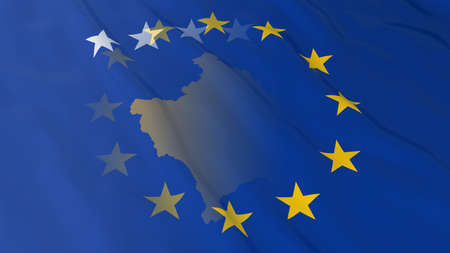 merged: Kosovan and European Union Relations Concept - Merged Flags of Kosovo and the EU 3D Illustration Stock Photo