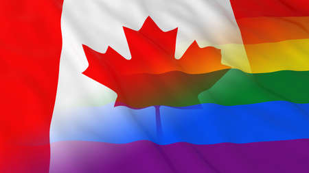 opposed: Gay Pride in Canada Concept - Merged Rainbow Flag and Canadian Flag 3D Illustration Stock Photo