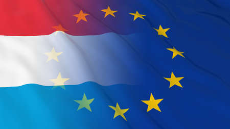 merged: Luxembourgian and European Union Relations Concept - Merged Flags of Luxembourg and the EU 3D Illustration