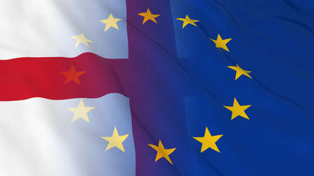opposed: English and European Union Relations Concept - Merged Flags of England and the EU 3D Illustration