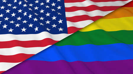 split up: Gay Pride in the USA Concept - Split Rainbow Flag and American Flag 3D Illustration Stock Photo