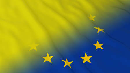 fade: EU Flag with Yellow Flag Fade - 3D Illustration