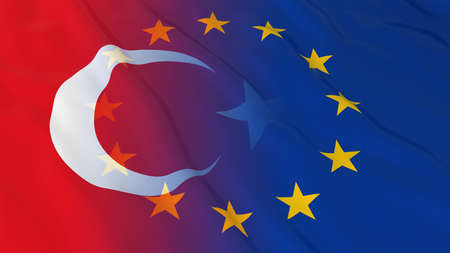 opposed: Turkish and European Union Relations Concept - Merged Flags of Turkey and the EU 3D Illustration
