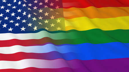 gay pride: Gay Pride in the USA Concept - Merged Rainbow Flag and American Flag 3D Illustration