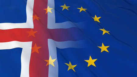 relations: Icelandic and European Union Relations Concept - Merged Flags of Iceland and the EU 3D Illustration Stock Photo