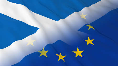 opposed: Scottish and European Union Relations Concept - Merged Flags of Scotland and the EU 3D Illustration Stock Photo