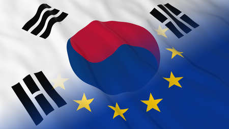 opposed: South Korean and European Union Relations Concept - Merged Flags of South Korea and the EU 3D Illustration