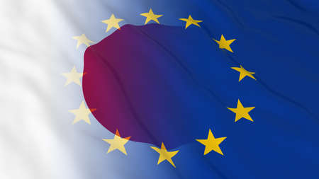 relations: Japanese and European Union Relations Concept - Merged Flags of Japan and the EU 3D Illustration