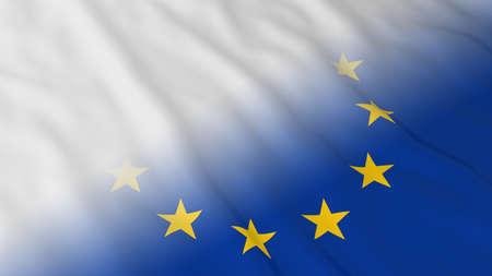 white flag: EU Flag with White Flag Fade - 3D Illustration
