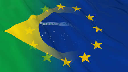 opposed: Brazilian and European Union Relations Concept - Merged Flags of Brazil and the EU 3D Illustration