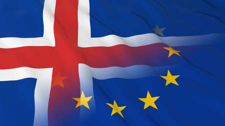 merged: Icelandic and European Union Relations Concept - Merged Flags of Iceland and the EU 3D Illustration Stock Photo