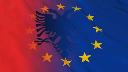 merged: Albanian and European Union Relations Concept - Merged Flags of Albania and the EU 3D Illustration
