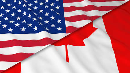opposed: Flags of America and Canada - Split Canadian Flag and American Flag 3D Illustration