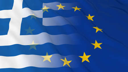 merged: Greek and European Union Relations Concept - Merged Flags of Greece and the EU 3D Illustration