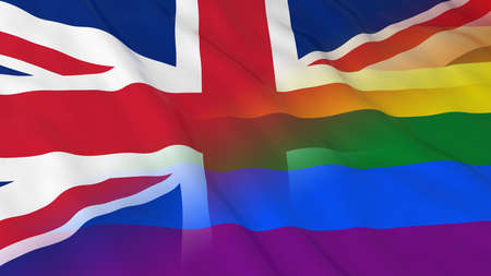 merged: Gay Pride in the UK Concept - Merged Rainbow Flag and United Kingdom Flag 3D Illustration Stock Photo
