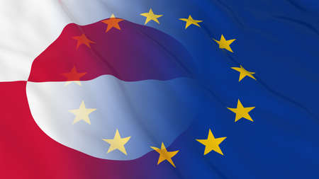 opposed: Greenlandic and European Union Relations Concept - Merged Flags of Greenland and the EU 3D Illustration