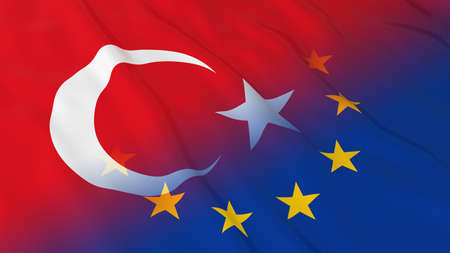 merged: Turkish and European Union Relations Concept - Merged Flags of Turkey and the EU 3D Illustration