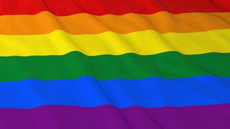 gay pride flag: Gay Pride Flag HD Background - Rainbow Flag 3D Illustration
