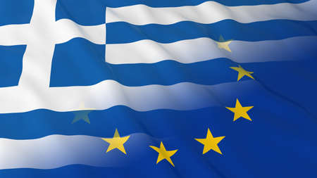 opposed: Greek and European Union Relations Concept - Merged Flags of Greece and the EU 3D Illustration