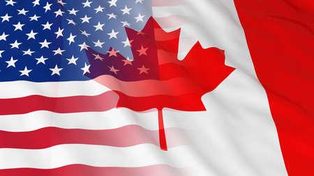 미국과 캐나다 관계 개념 - 캐나다와 미국 3D 그림의 병합 된 플래그