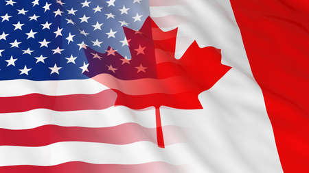 merged: American and Canadian Relations Concept - Merged Flags of Canada and the USA 3D Illustration