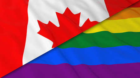 canadian flag: Gay Pride in Canada Concept - Split Rainbow Flag and Canadian Flag 3D Illustration