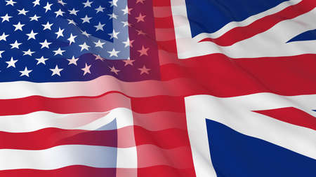 opposed: American and British Relations Concept - Merged Flags of the UK and the USA 3D Illustration Stock Photo