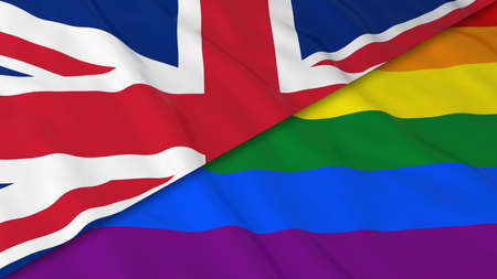 gay pride: Gay Pride in the UK Concept - Split Rainbow Flag and United Kingdom Flag 3D Illustration