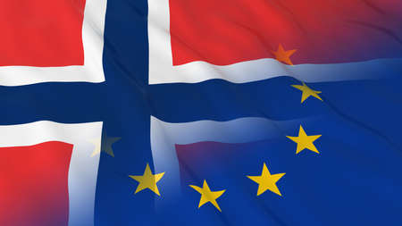 opposed: Norwegian and European Union Relations Concept - Merged Flags of Norway and the EU 3D Illustration