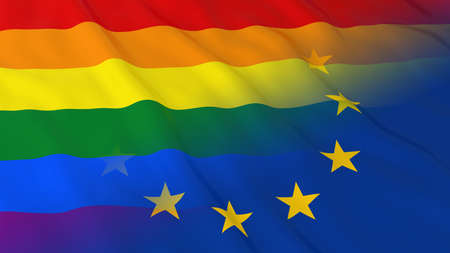 opposed: Gay Pride in Europe Concept - Merged Flags of Gay Pride and the EU 3D Illustration