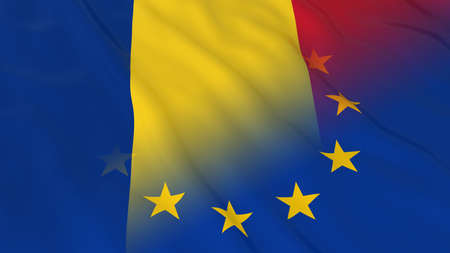 merged: Romanian and European Union Relations Concept - Merged Flags of Romania and the EU 3D Illustration
