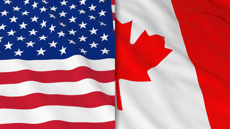 Flags of America and Canada - Split Canadian Flag and American Flag 3D Illustration