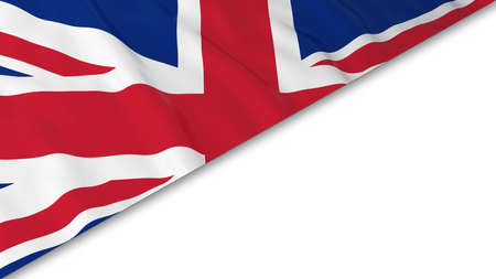 British Flag corner overlaid on White background - 3D Illustration