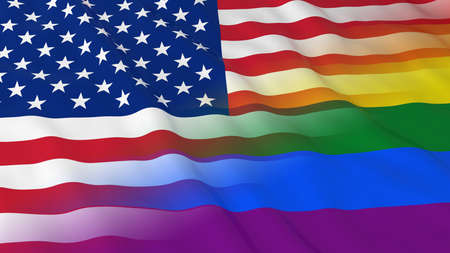 merged: Gay Pride in the USA Concept - Merged Rainbow Flag and American Flag 3D Illustration