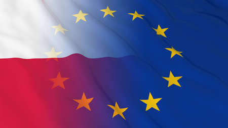 opposed: Polish and European Union Relations Concept - Merged Flags of Poland and the EU 3D Illustration